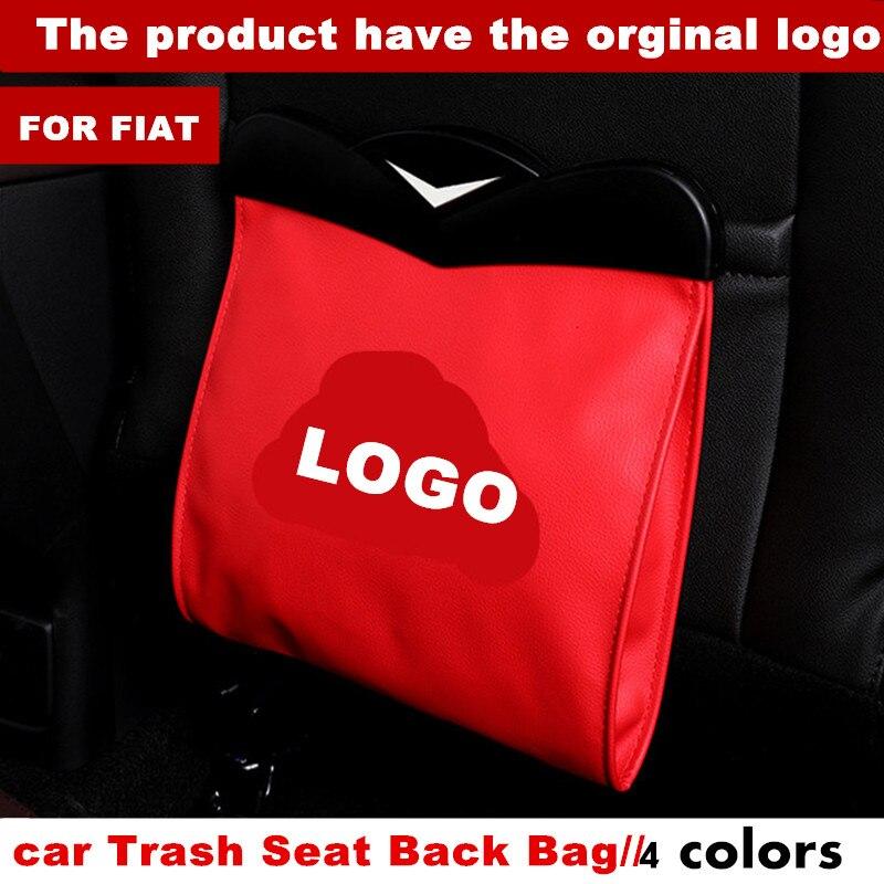 Led saco de armazenamento de uso duplo carro veículo lixo bin para fiat abarth logotipo panda bravo punto linea croma 500 595