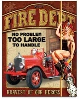 smartcows fire dept no problem firefighter retro pin up girl retro decor metal tin sign 8x12in