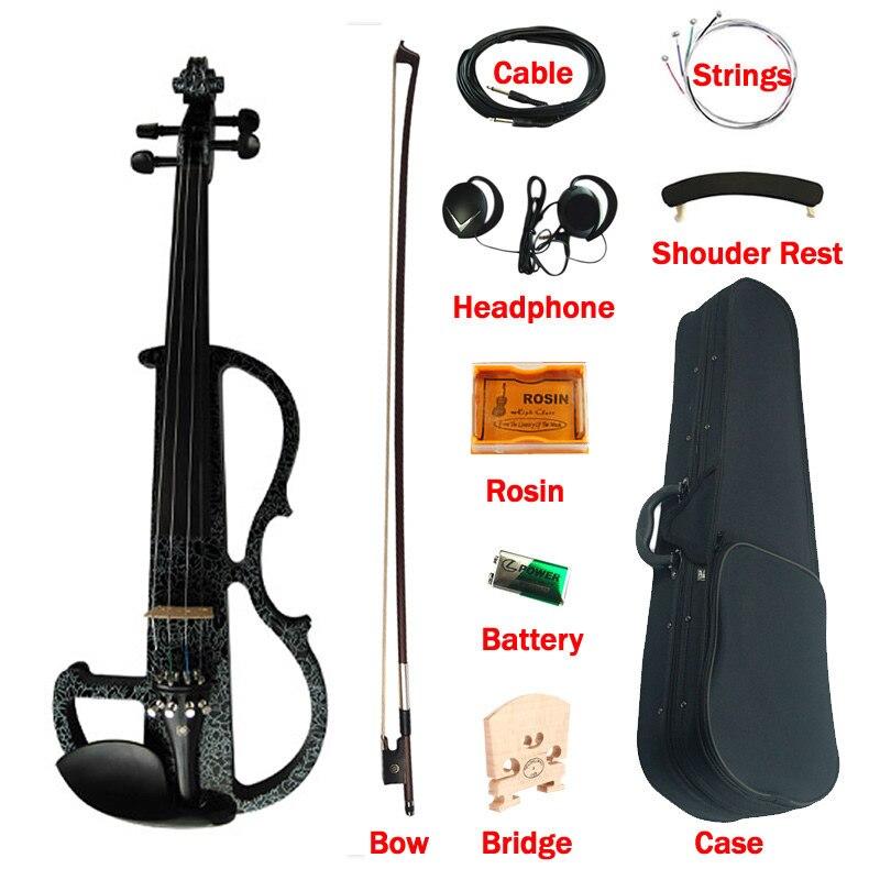 Violín de arte eléctrico avanzado negro de color sólido de madera de ébano accesorios Violino 4/4 instrumentos de música con caja de arco de cadena de colofonia