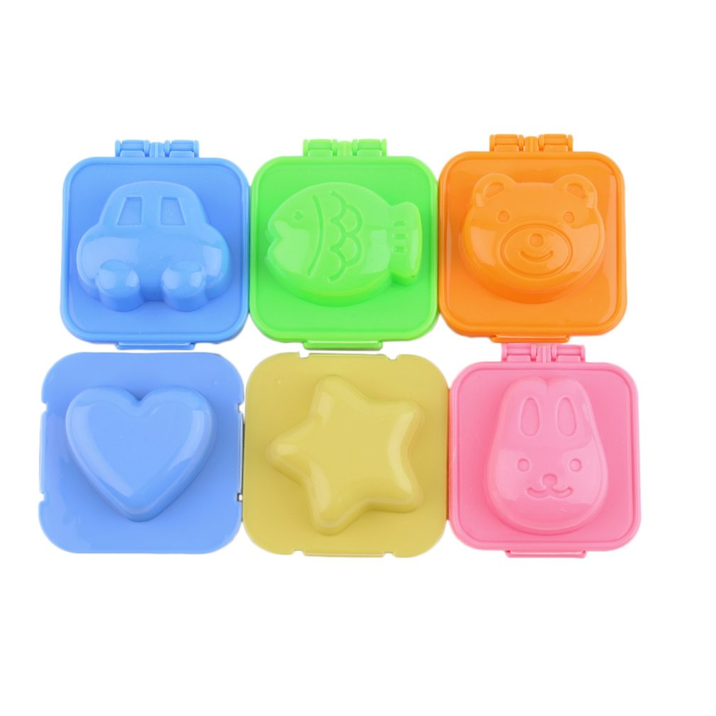 6 Pcs Boiled Egg Sushi Rice Mold Mould Bento Maker Sandwich Cutter Moon Cake Decorating Decoration Kitchen Tool Food Cutter Tool