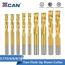 XCAN 2 Флейта вверх вниз резак 3,175/4/6/8/10 мм хвостовик Tianium покрытием карбида Концевая фреза с ЧПУ фреза