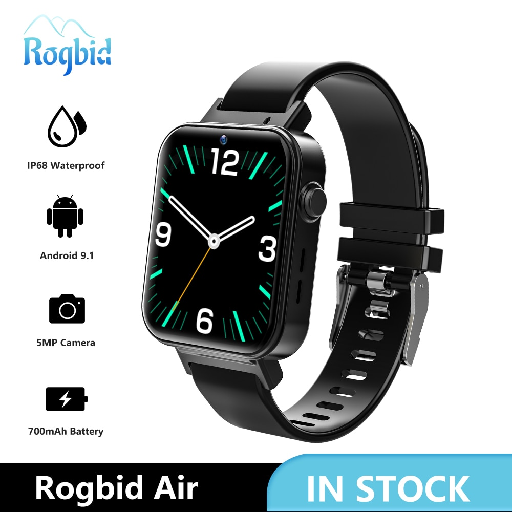 Review Rogbid Air 4G LTE Smart Watch Phone GPS 4GB 128GB Camera 5MP Face ID WIFI Smartwatch Men Android 9.1 IP68 Waterproof For Xiaomi