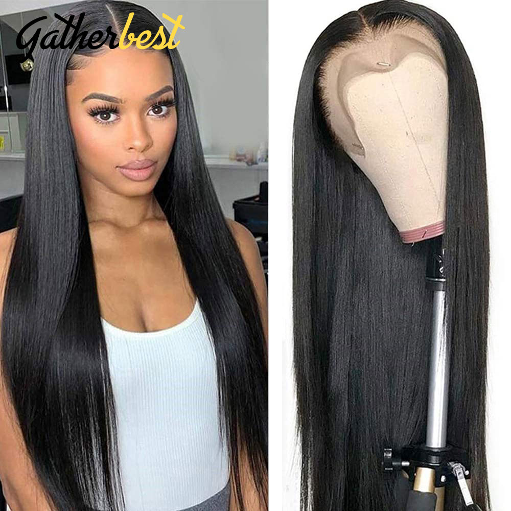 4x4 Lace Front Wigs 180% Brazilian Bone Straight Hair Wig With Baby Hair closure wig Brazilian full lace human hair wigs