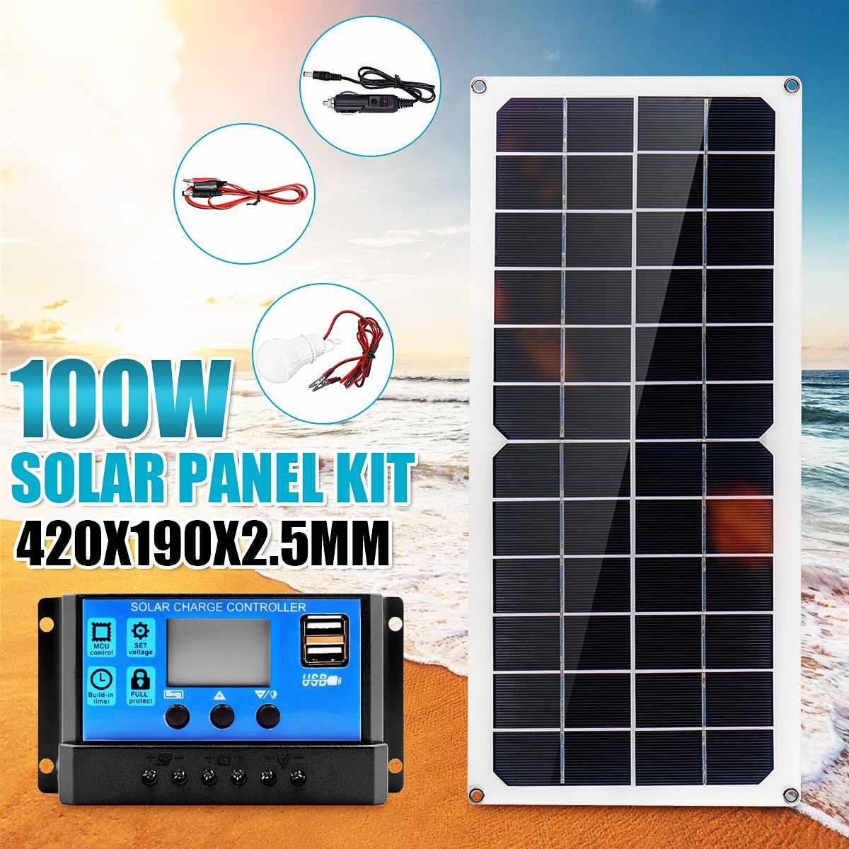 Pannello solare da 100W 18V Dual USB con lampada a LED da 3W regolatore di carica per regolatore solare da 10A USB per luce da campeggio esterna per auto