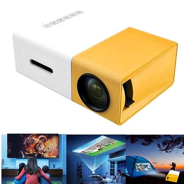 جهاز عرض صغير محمول ، مسرح منزلي ، مكتب ، HD ، 1080P ، أصفر