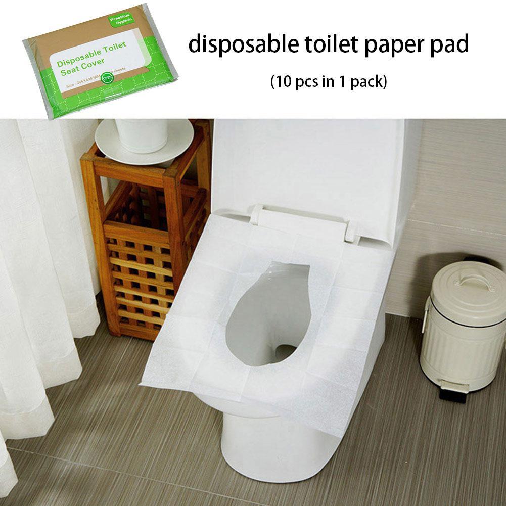 Paquete de 10 unidades de fundas para asiento de inodoro, almohadilla de inodoro desechable portátil, papel a prueba de bacterias para hogar, viaje, Camping, baño y oficina