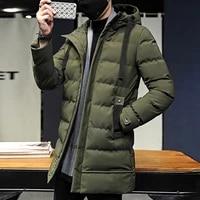 2021 brand clothing men winter parka long section casual new warm thicken jacket outwear windproof coat hooded jacket long men