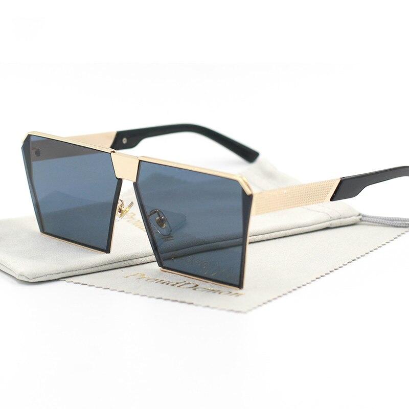 Fashion Brand Designer Square Flat lens Sun Glasses Mirror Women Sunglasses Men Hip Hop Oversized La