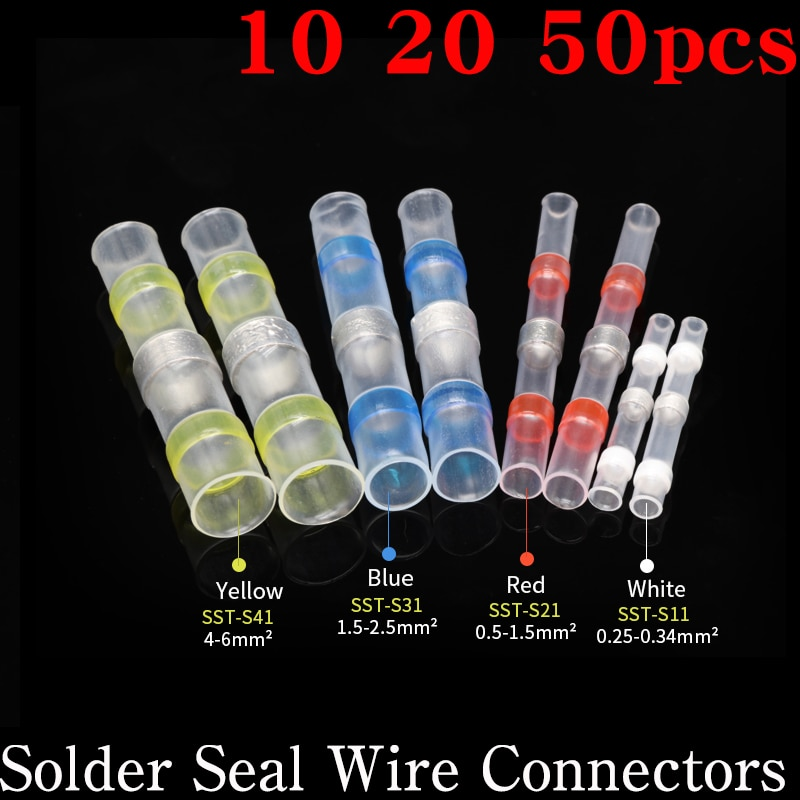 AliExpress - 10/20/50pcs Solder Seal Wire Connectors Heat Shrink Butt Connectors Insulated Waterproof Electrical Terminals for car boat  Home