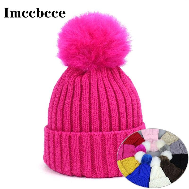 Детские осенне-зимние теплые облегающие шапки для маленьких мальчиков и девочек с помпоном из искусственного меха шапки Однотонные эласти...