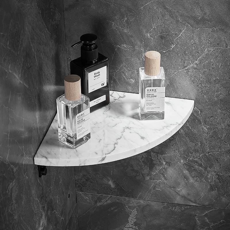 Угловая полка для ванной комнаты, матовая Золотая кухонная полка, стеллаж для душа, держатель для хранения, алюминиевый мраморный аксессуар...