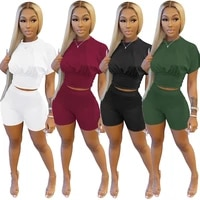 echoine summer short sleeve slim crop top tshirt and shorts tracksuit sporty jogger suit two pieces set new active outfits 2021
