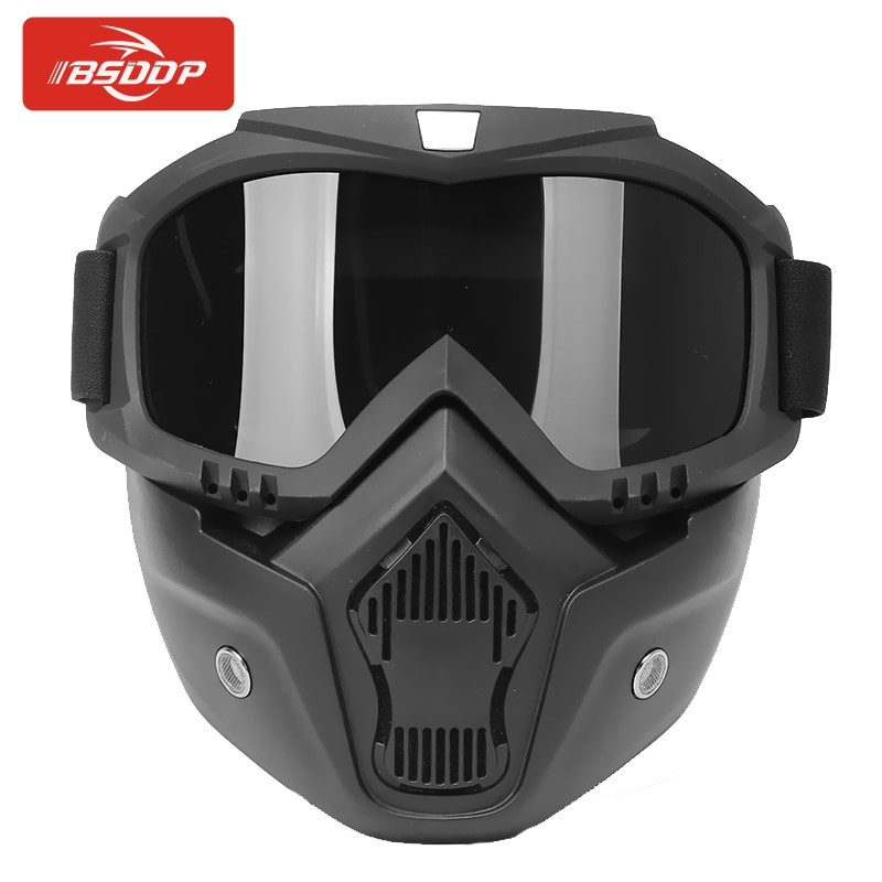 adult leather harley helmetsmask detachable goggles and mouth filter perfect vintage motorcycle helmet open face motorcycle BSDDP Motorcycle Goggle Motocross Bike Glasses Mask Detachable Modular Mouth Filter UV Protection for Halley Open Face Helmet
