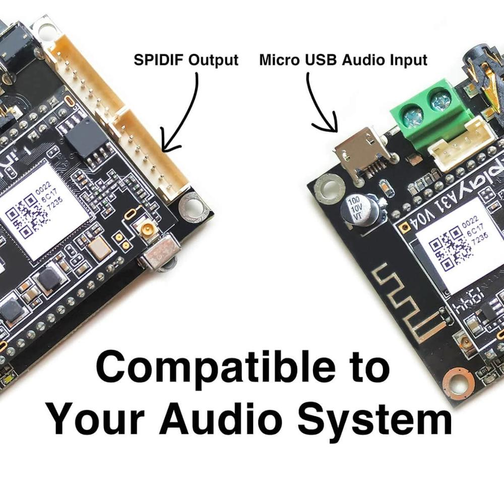 Up2Stream Mini V3 WiFi And Bluetooth 5.0 Audio Receiver Board Module With Spotify Airplay DLNA 24bit 192kHz FLAC Multiroom enlarge