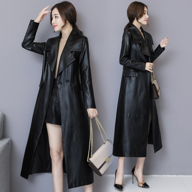 Fashion X-Long Black Leather Jacket Women Plus Size 5XL Turn-down Collar Slim Soft Pu Leather Trench Coat Female Overcoats enlarge
