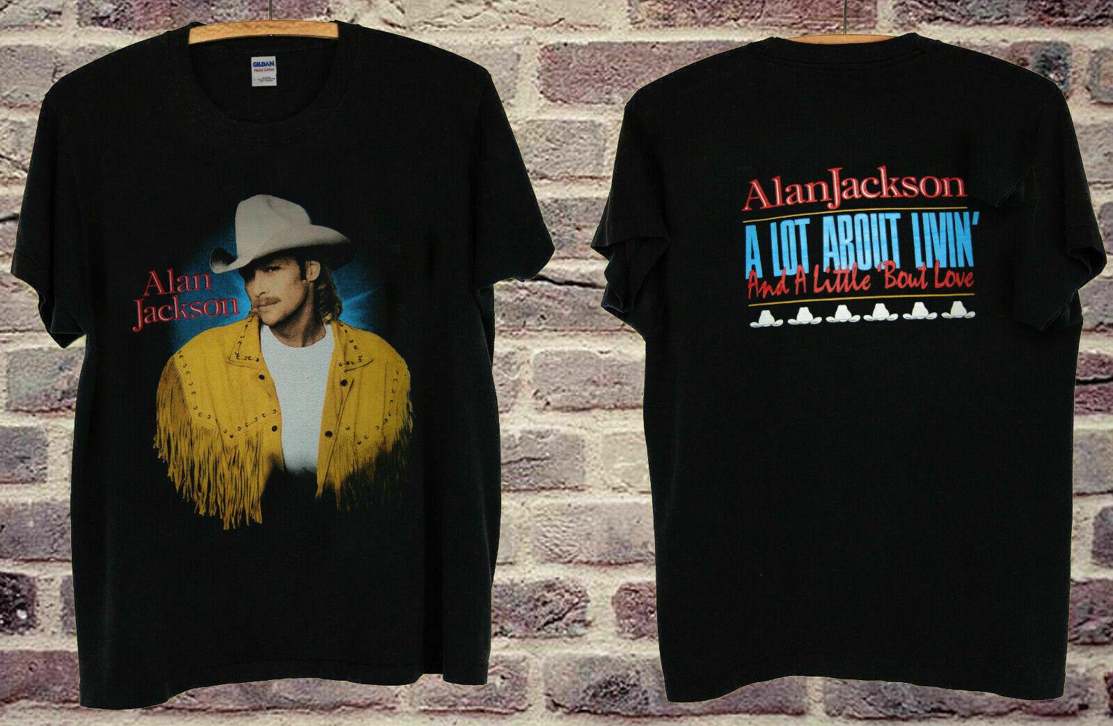 Raro reestampado Vintage concierto ALAN JACKSON 93 Camiseta talla de EE. UU.