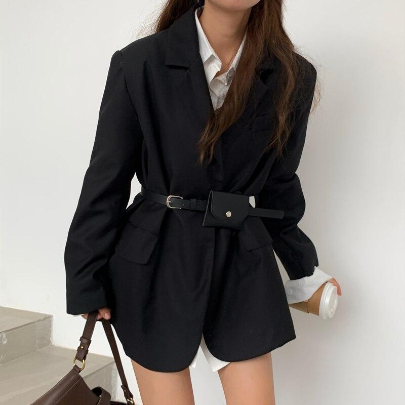 شحن مجاني ربيع الخريف نمط فضفاض المرأة السترة و سترة مع جيب كم طويل معاطف الإناث عادية أبيض أسود أخضر