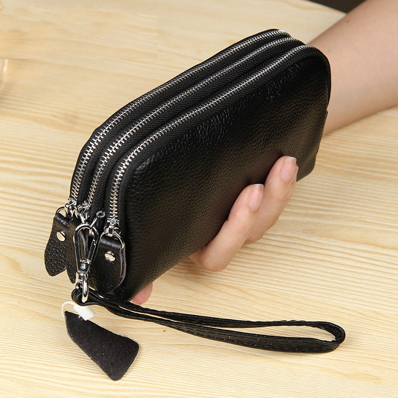 Long Women Wallet Genuine Leather 3 layers Zipper Wristlet Bag Big Capacity Lady Clutch Coin Purse Mobile phone bag black