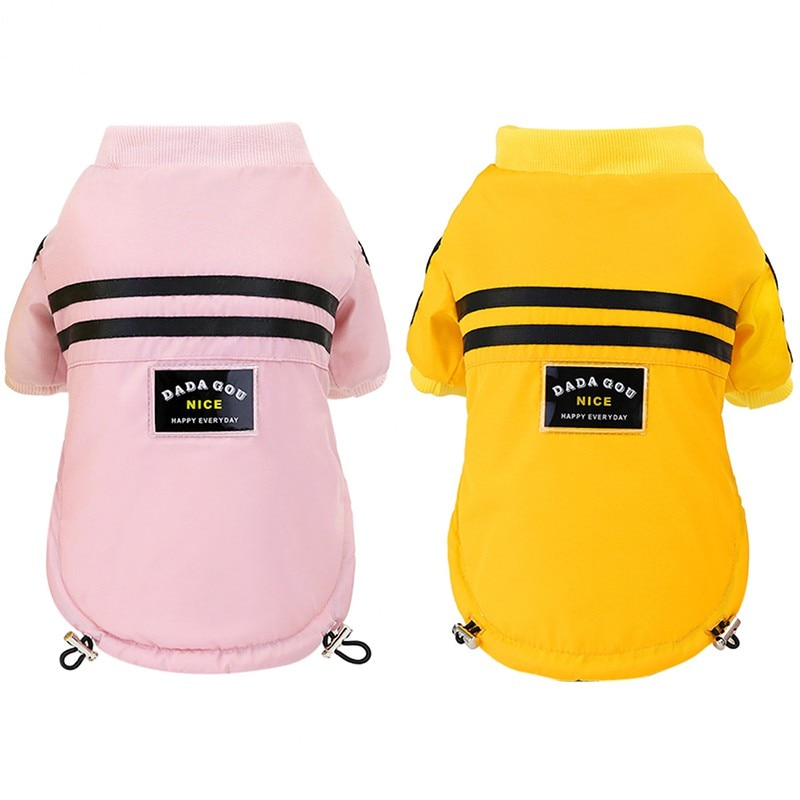 Pet Autumn Winter Costume Warm Printed Cotton Padded Hooded Jacket Dog Thickening Solid Color Hoodie/