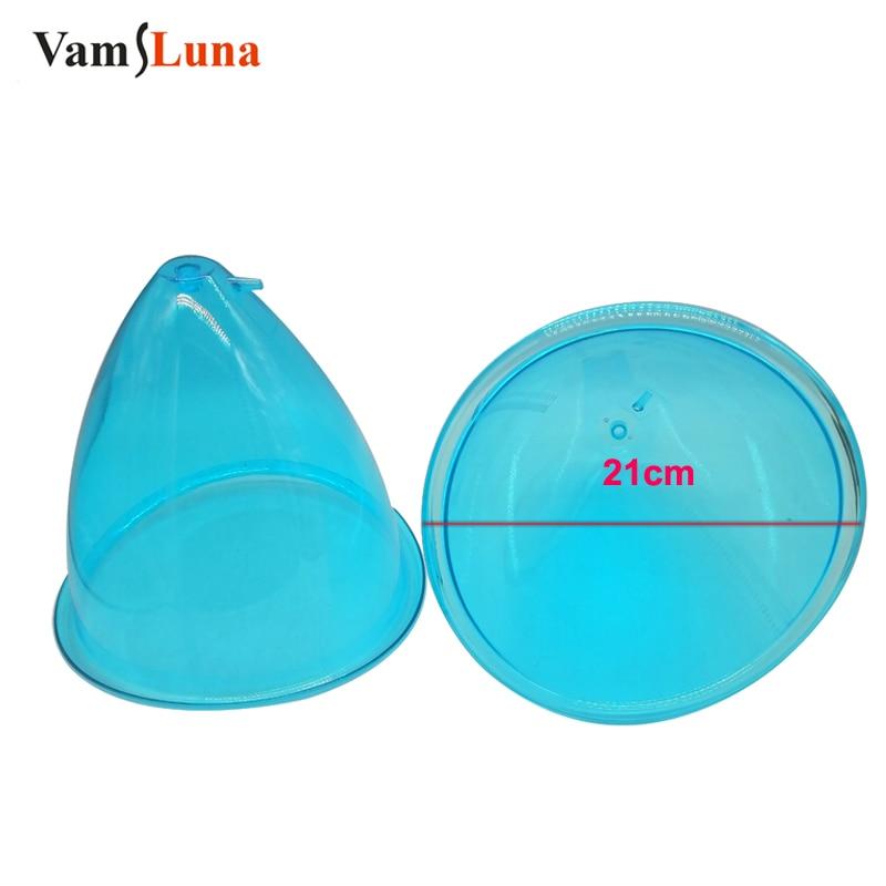 Tazze XXL blu aspiranti sottovuoto King Size 21cm per un trattamento di sollevamento del culo persiano sessuale (2 pezzi)
