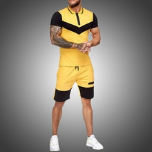 Mens Short Sets Summer Casual Summer Clothing 2 Piece Set Colorblock Track Suits 2020 Male T Shirt+Shorts Cotton Men Tracksuits