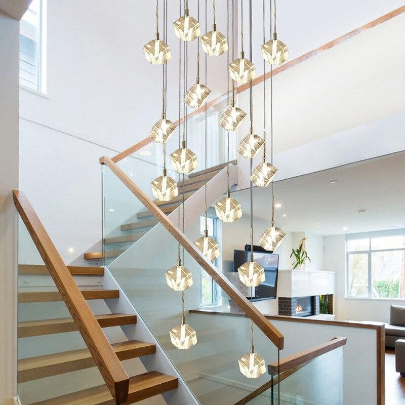 الحديثة Led الماس شكل الكريستال قلادة ضوء مصباح الدرج الزجاج الإضاءة فيلا الثريا فندق كبير غرفة المعيشة hangمصباح