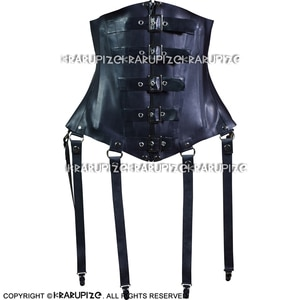 Black Sexy Latex Corsets With Lacing At Back Rubber Bustiers Top Clothing 1.0MM CY-0032