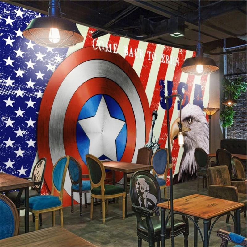 Elementos de la bandera americana Estatua de la libertad águila decoración industrial Mural papel de pared 3D Bar papel tapiz FONDO DE restaurante 3D