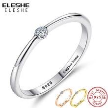 ELESHE authentique 925 en argent Sterling anneaux rond zircone cristal bagues pour les femmes de mariage Original bijoux en argent