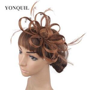 Nice Sinamay Occasion Women Headwear Headband Ladies Wedding Fascinator Hat Hair Accessories Fancy Feathres Headdress Event