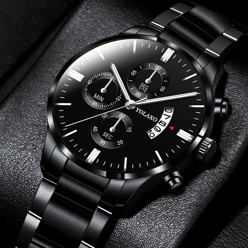 reloj hombre Fashion Men Stainless Steel Watch Luxury Calendar Quartz Wristwatch Business Watches Ma