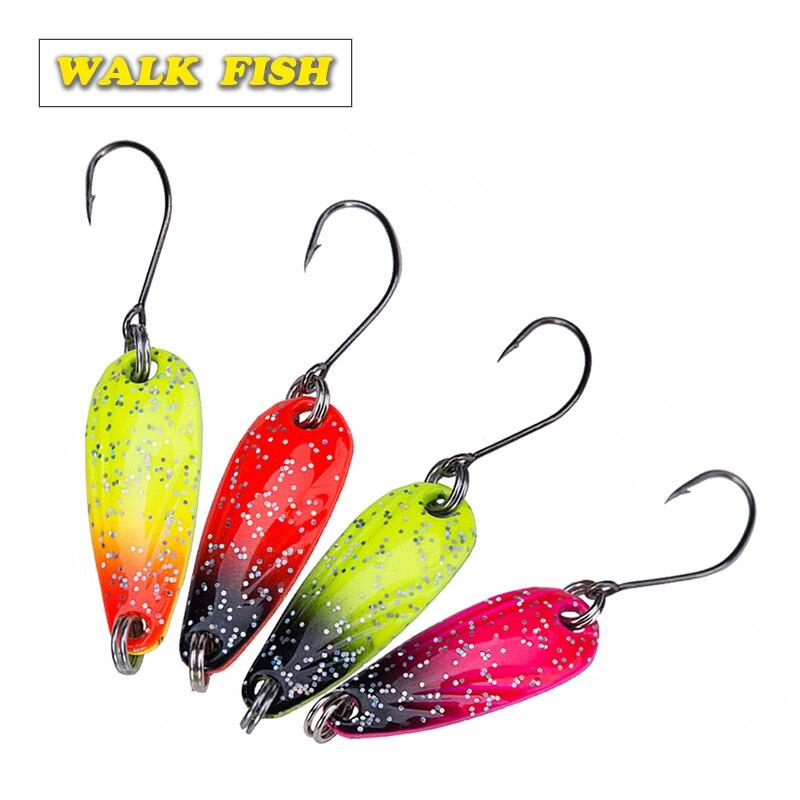 Walk Fish 4 шт./лот, 2,8 см, 2,5 г, металлическая Спиннер, ложка, рыболовная приманка, жесткие приманки, блестки, шумо, блестки с крючком VMC, снасти HH012