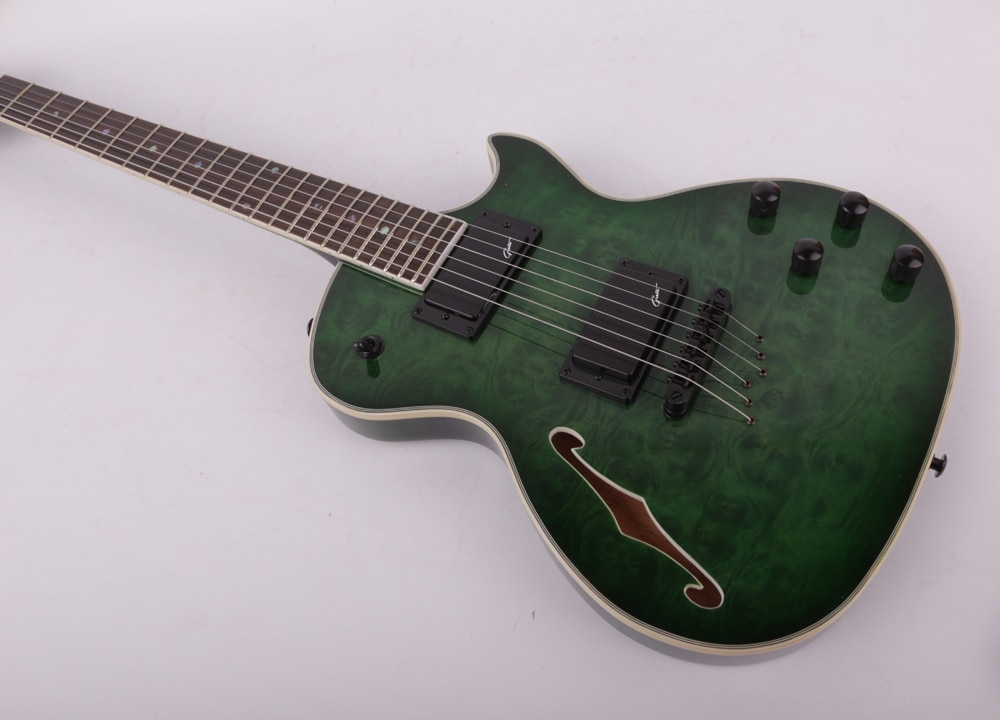 Good quality green f hole electric guitar free shipping enlarge
