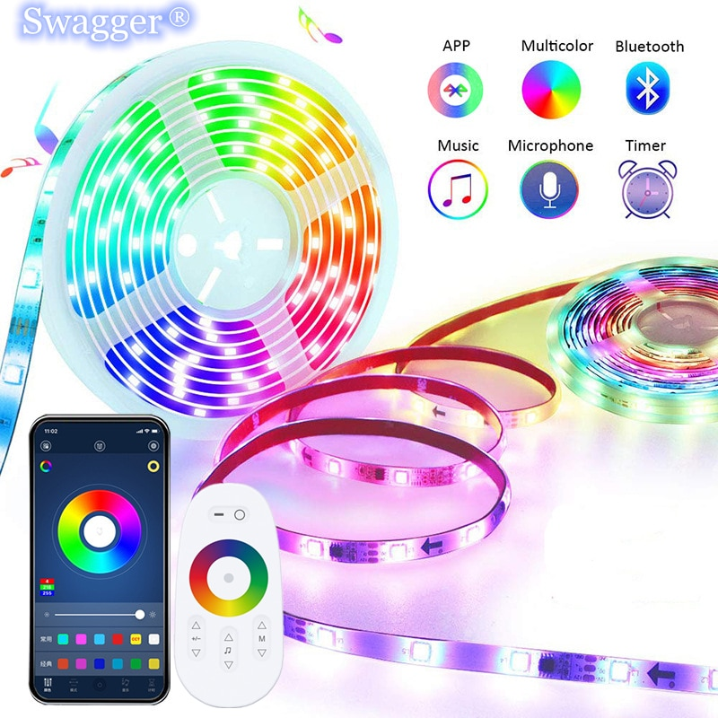 LED Strip Light RGB DC12V 5050 2835 Flexible Waterproof Diode Tape WiFi bluetooth Remote Controller Room Festiva Decoration Lamp