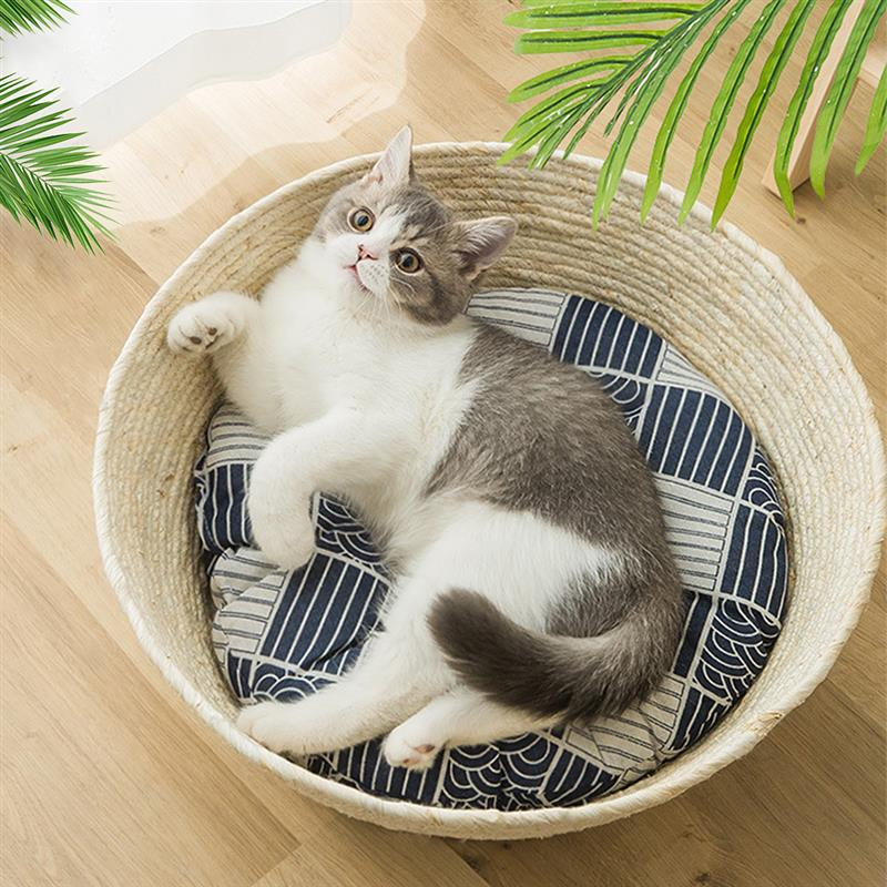 Japanese Style Natural Straw Woven Pets Slepping Rest Bed Mat Couch Basket Nest Lounge For Cats Small Dogs Puppy Pet Supplies