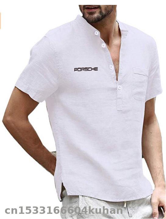 Camiseta de manga corta de algodón de verano 2020 para hombre, camiseta de manga corta con botones y botones a media pierna para porsche