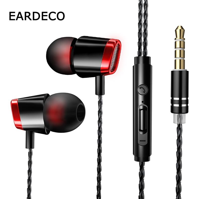 EARDECO Mobil Wired Kopfhörer Original In Ohr 3,5mm Bass Telefon Kopfhörer Ohrhörer Sport Headset Kopfhörer Mit Mic Für Telefon