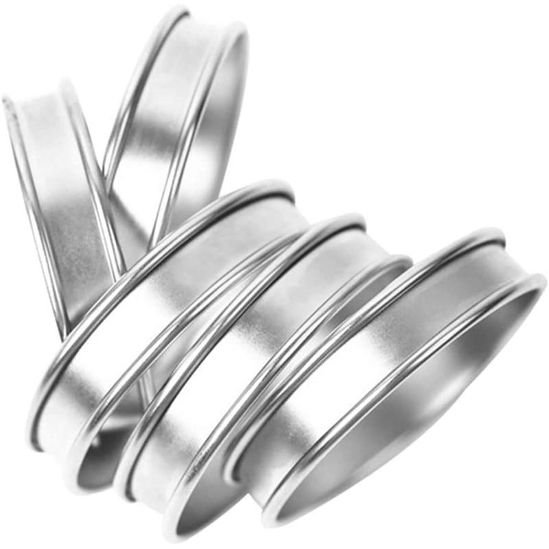 Stainless Steel Double Rolled Rings English Muffin Rings English Tart Ring Pie Circle Tarlet Ring 8Pcs