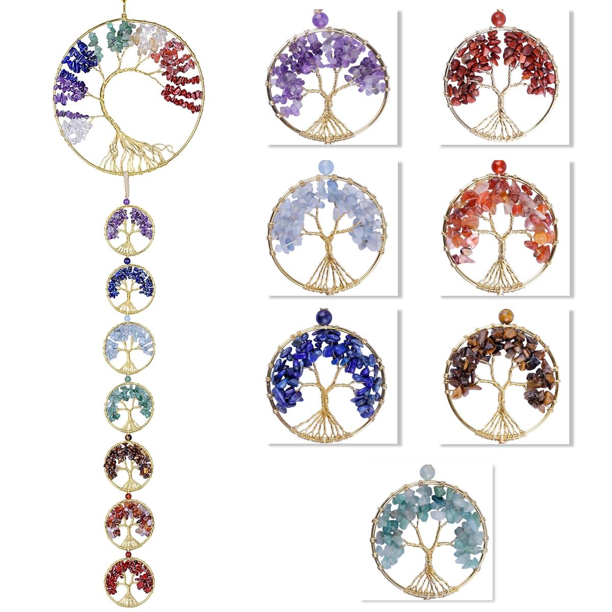 TUMBEELLUWA 7 Chakra Stones Copper Wire Wrapped Tree of Life Handmade Hanging Ornament Healing Crystal Wall Window Home Decor недорого