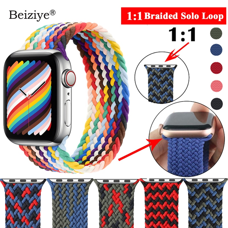 AliExpress - 1:1 Braided Solo Loop Strap For Apple Watch 42mm 38mm  Weave Elastic Bracelet for Apple Watch 40mm 44mm SE 6 5 4 3 2 Accessories