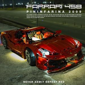 Новый дизайн RC Феррари 458 с светодиодный светильник Пылезащитный чехол 3380 шт. строительные блоки Творческий супер спортивный автомобиль Кирпичи игрушки для детей, подарки