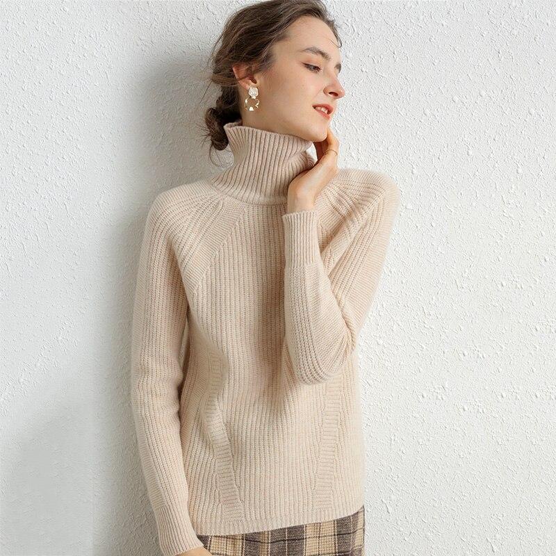 100% suéter de Cachemira de lana merina para mujer, Otoño Invierno 2020, cálido jersey de manga larga con cuello de tortuga para mujer, Jersey de punto