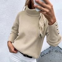 anti shrink terrific solid color autumn sweater warm lady sweater buttons for work