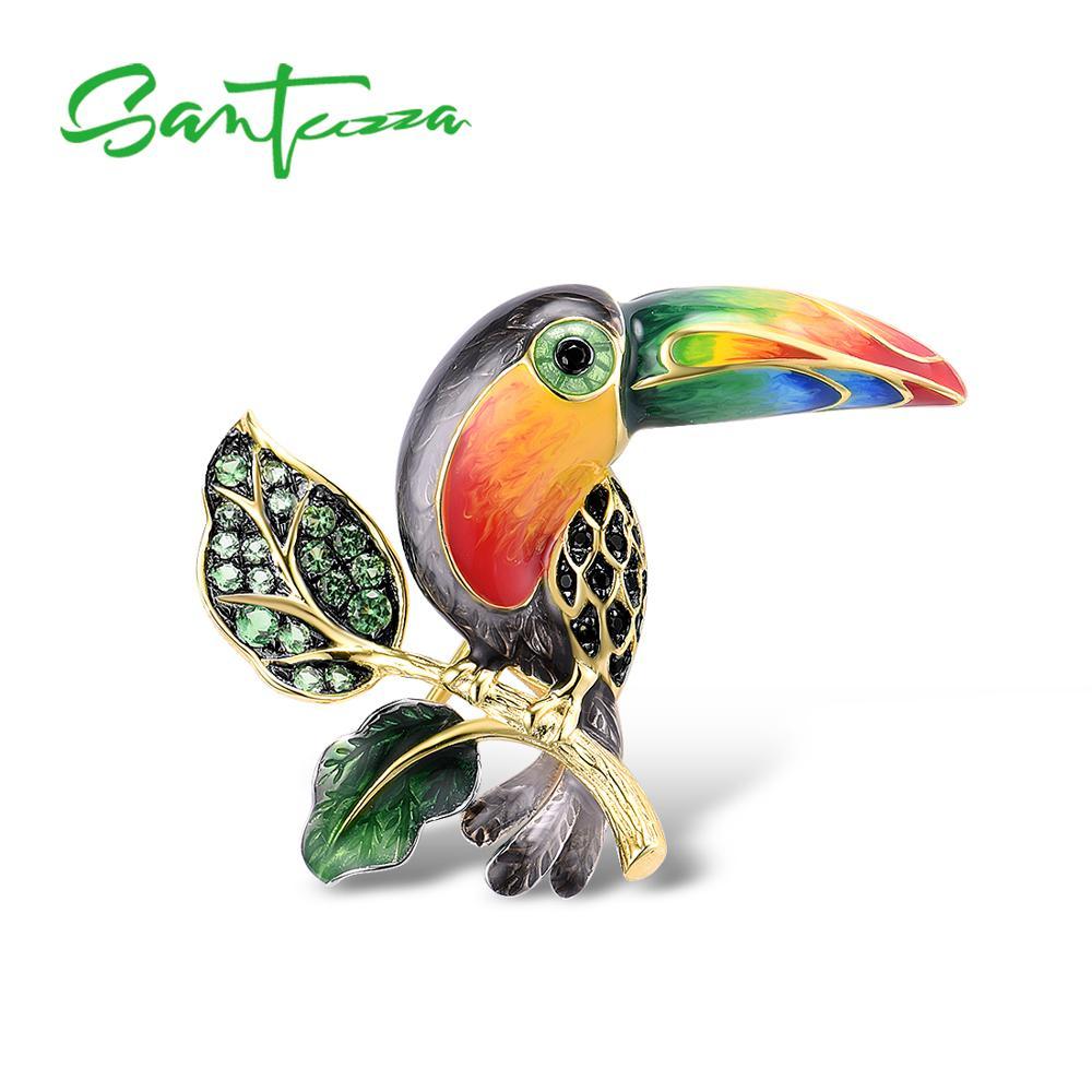 SANTUZZA-بروش من الفضة الإسترليني والطيور للنساء ، بروش ، 925 فضة استرلينية ، ذهب أصفر ، طوكان ملون ، حيوان ، مينا ، صناعة يدوية