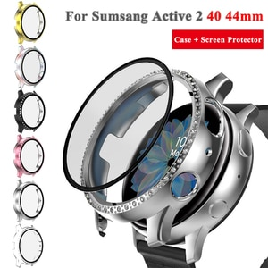 Watch Case For Samsung Galaxy Watch active 2 Case for active 2 40 44mm PC Case + Screen protector 2 in 1 Film Cover Accessories
