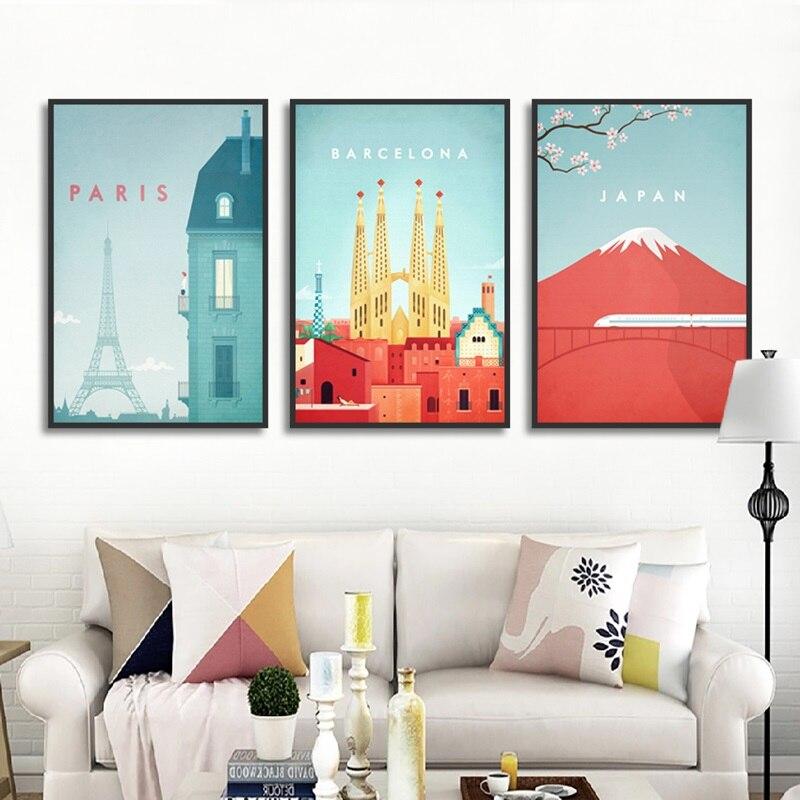 De dibujos animados lindo paisaje de ciudad París Barcelona Japón estampado pintura...