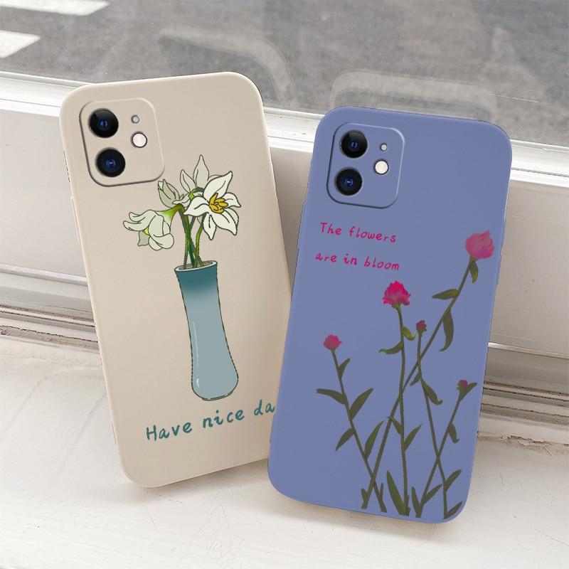 Flowers Liquid Silicone Case For iPhone 12 Pro Max Mini 11 Pro Max X XR XS MAX SE2020 8 7 6 6S Plus