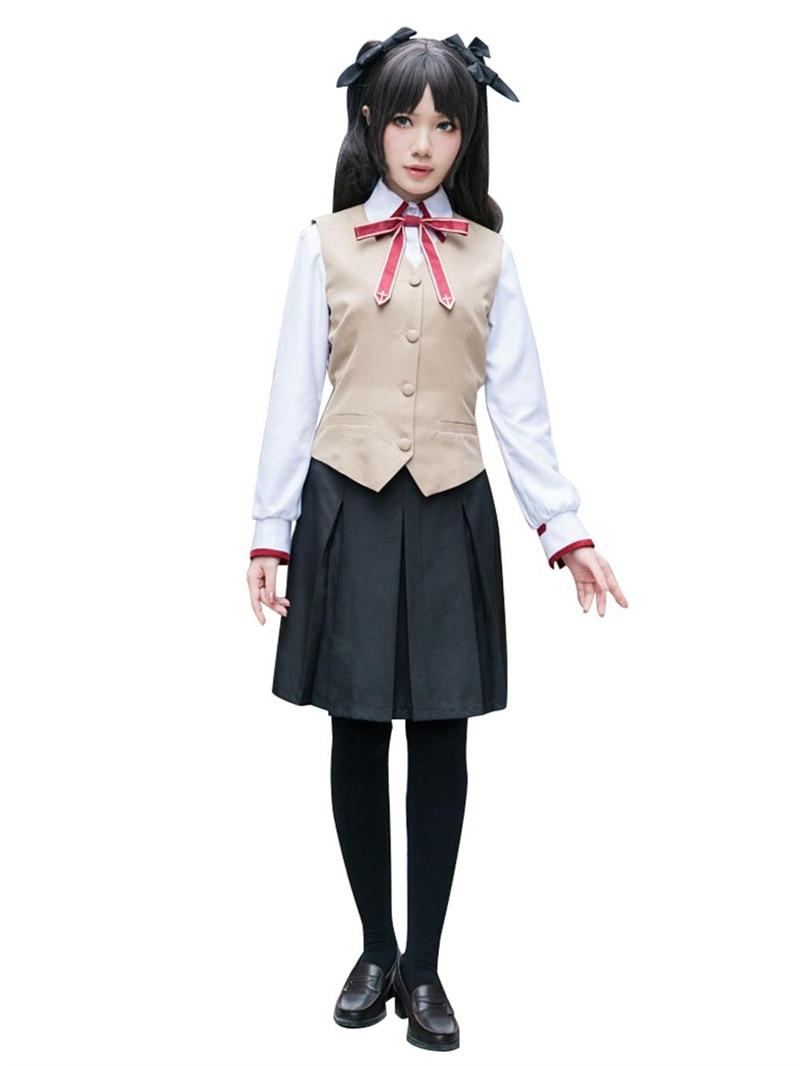Fate Stay Night Tosaka Rin Halloween Cosplay Costume School Uniform Halloween