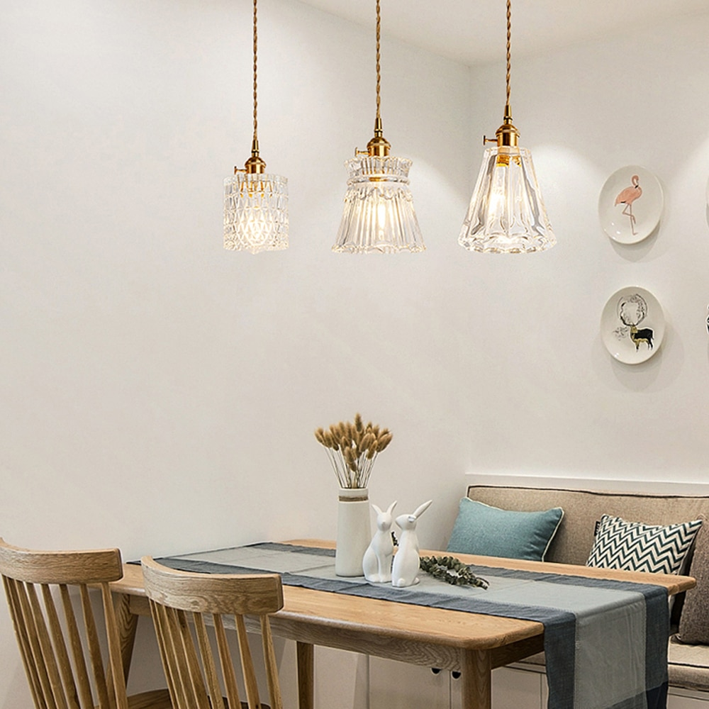 Zerouno glass led pendant light modern style e27 bulb kitchen lamp living room pendant lamp 2m wire copper switch 220v hang lamp