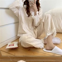 2021 two pieces suit sweet printing lace nightwear cotton pullover casual loose fashion long sleeves pajamas set